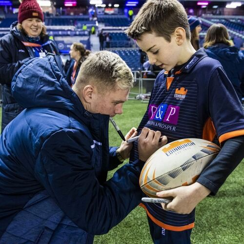 EDINBURGH, SCOTLAND: Mascot moment with Darcy Graham ahead of the Guinness Pro14 match between Edinburgh Rugby and Cardiff Blues at BT Murrayfield on February 28, 2020, in Edinburgh, Scotland. (Photo by Ross Parker / SNS Group / SRU)
